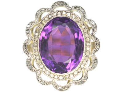 Edwardian 18ct Gold & Platinum, Amethyst & Rose Diamond Cluster Ring