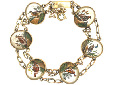 Edwardian 15ct Gold Reverse Intaglio Bracelet of Game Birds