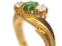 Edwardian 18ct Gold, Green Garnet & Diamond Crossover Ring