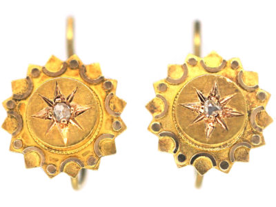 Victorian 15ct Gold Round Earrings set with a Rose Diamond