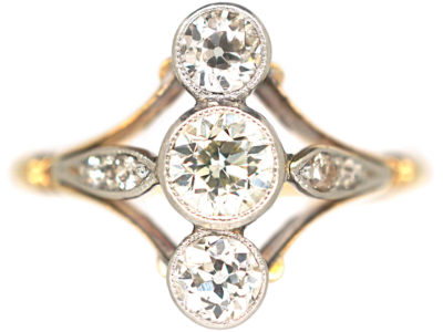 Art Deco 18ct Gold & Platinum, Three Stone Diamond Ring with Diamond Set Shoulders
