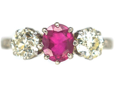 Art Deco 18ct Gold & Platinum, Three Stone Ruby & Diamond Ring