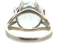 18ct White Gold & Large Aquamarine Ring