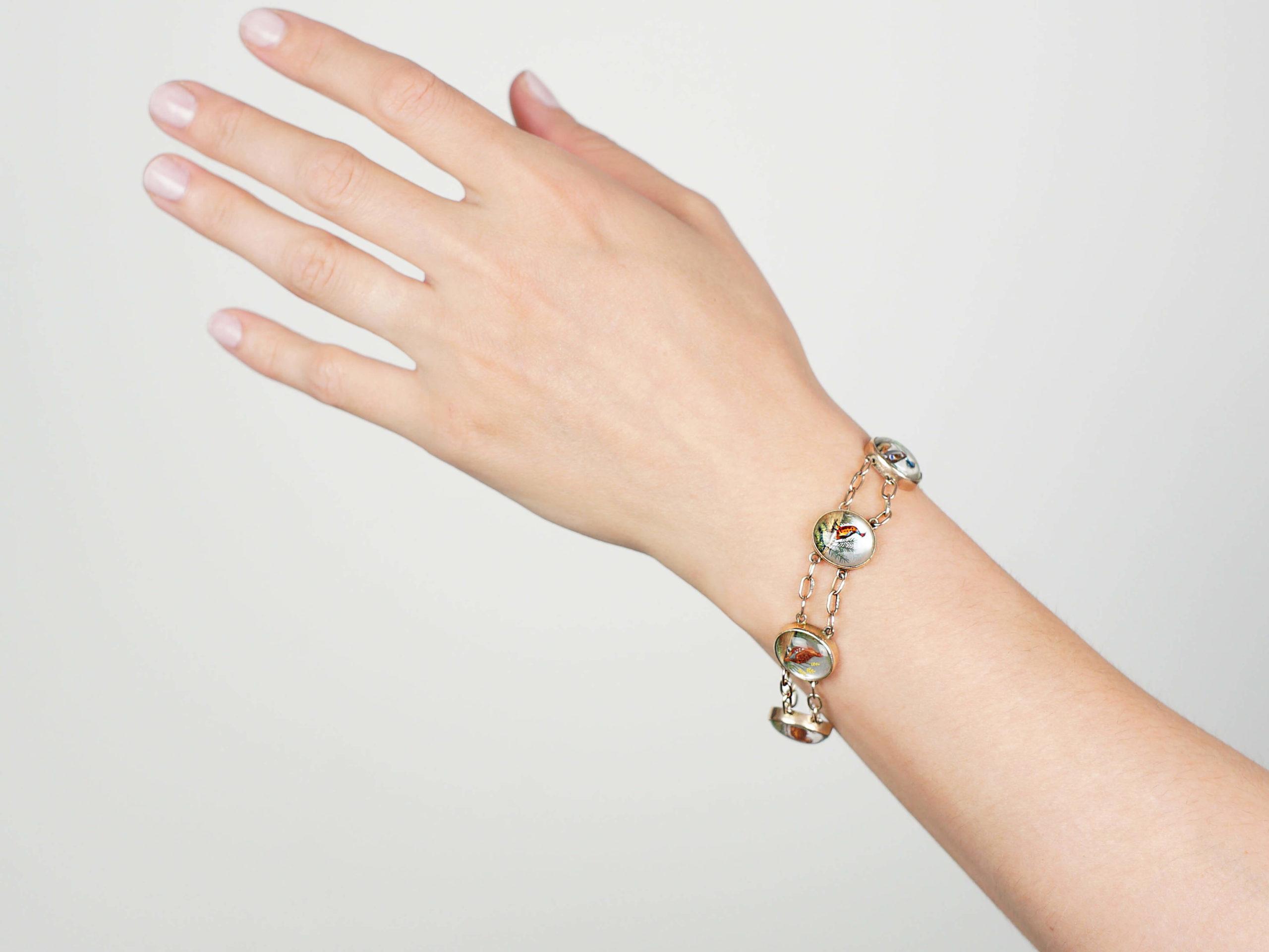Edwardian 9ct Gold Reverse Intaglio Bracelet of Game Birds
