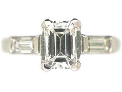 Art Deco Platinum, Emerald Cut & Baguette Cut Diamond Ring