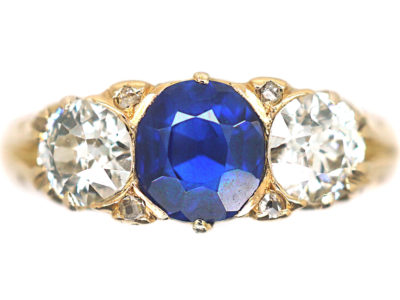 Victorian 18ct Gold Sapphire & Diamond Three Stone Ring