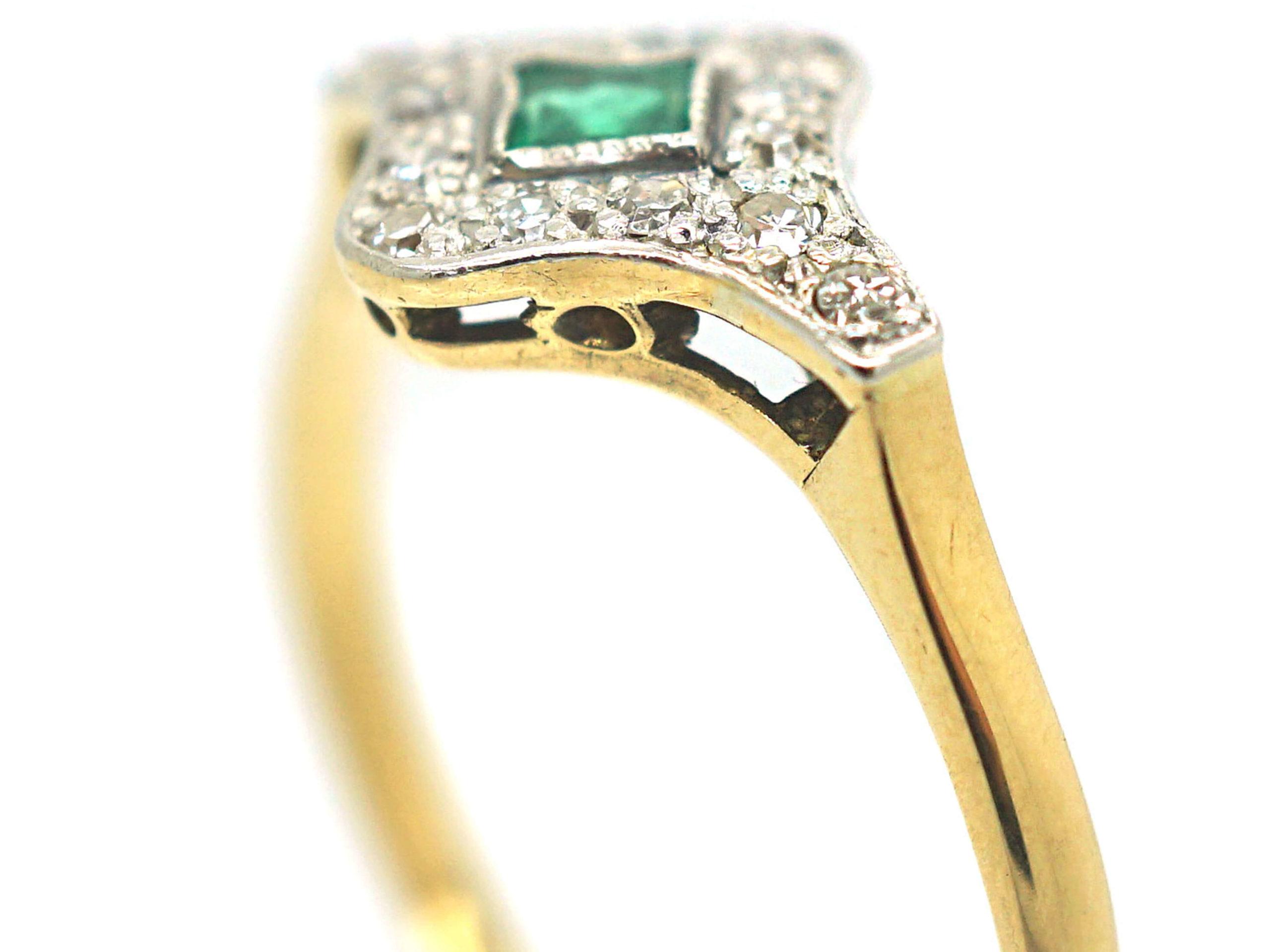 Art Deco 18ct Gold & Platinum, Diamond & Emerald Ring
