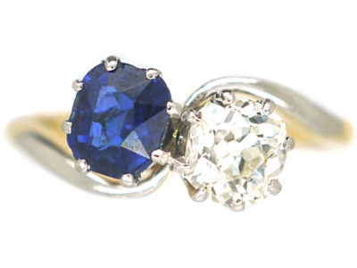Edwardian 18ct Gold & Platinum Sapphire & Diamond Crossover Ring