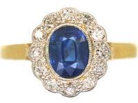 Edwardian 18ct Gold & Platinum, Sapphire & Diamond Oval Cluster Ring