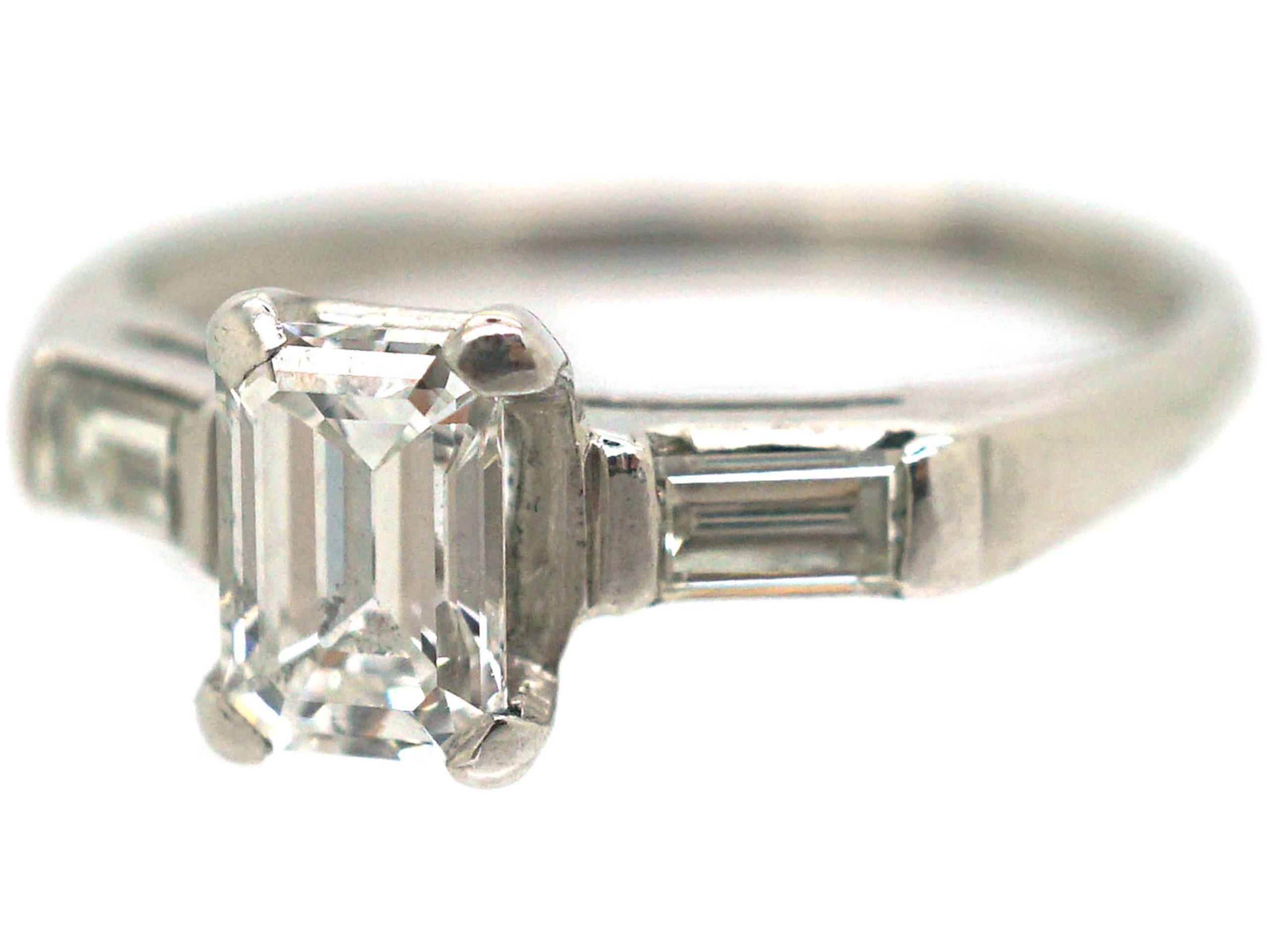 Art Deco Platinum, Emerald Cut & Baguette Cut Diamond Ring