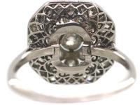 Art Deco Platinum & Diamond Plaque Ring with Flower Motif