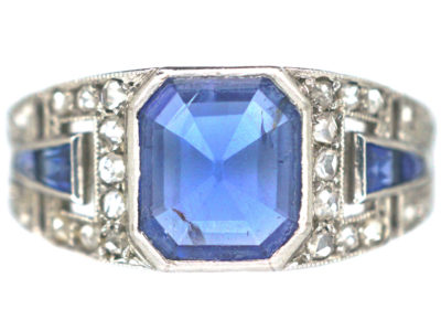 French Art Deco Platinum, Sapphire & Rose Diamond Ring