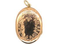 Edwardian 9ct Gold Oval Locket with Flower Basket Motif