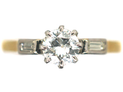 18ct Gold & Platinum, Diamond Solitaire Ring with a Baguette Diamond on Either Side