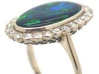 Edwardian 18ct White Gold & Platinum, Black Opal & Diamond Oval Cluster Ring