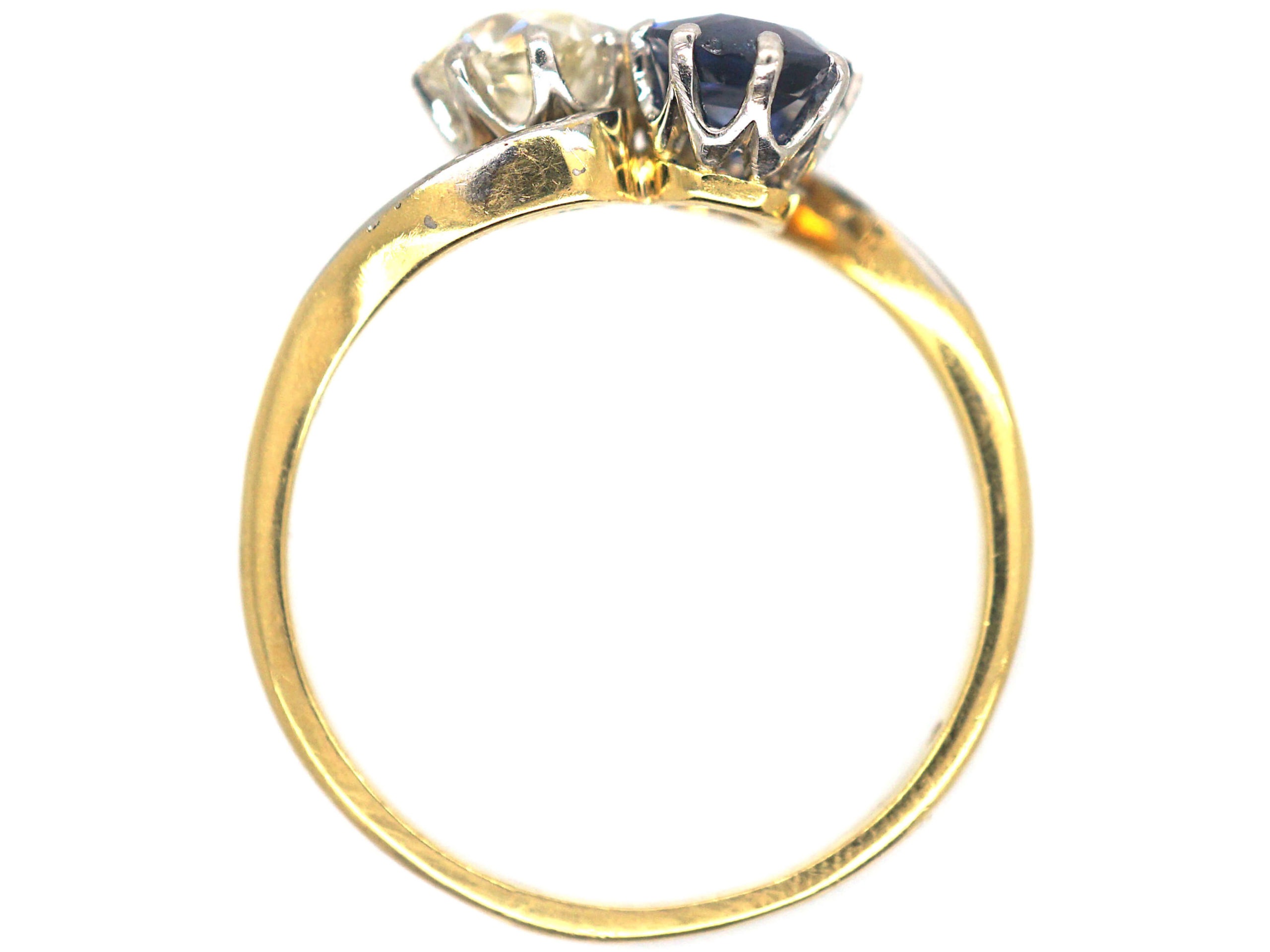 Edwardian 18ct Gold & Platinum Sapphire & Diamond Crossover Ring