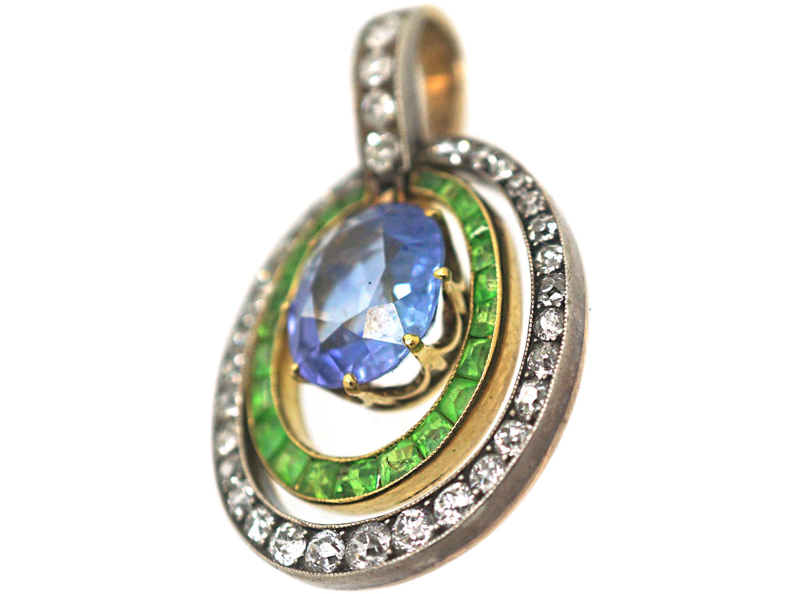 French Belle Epoque 18ct Gold, Sapphire, Demantoid Garnet & Diamond Pendant