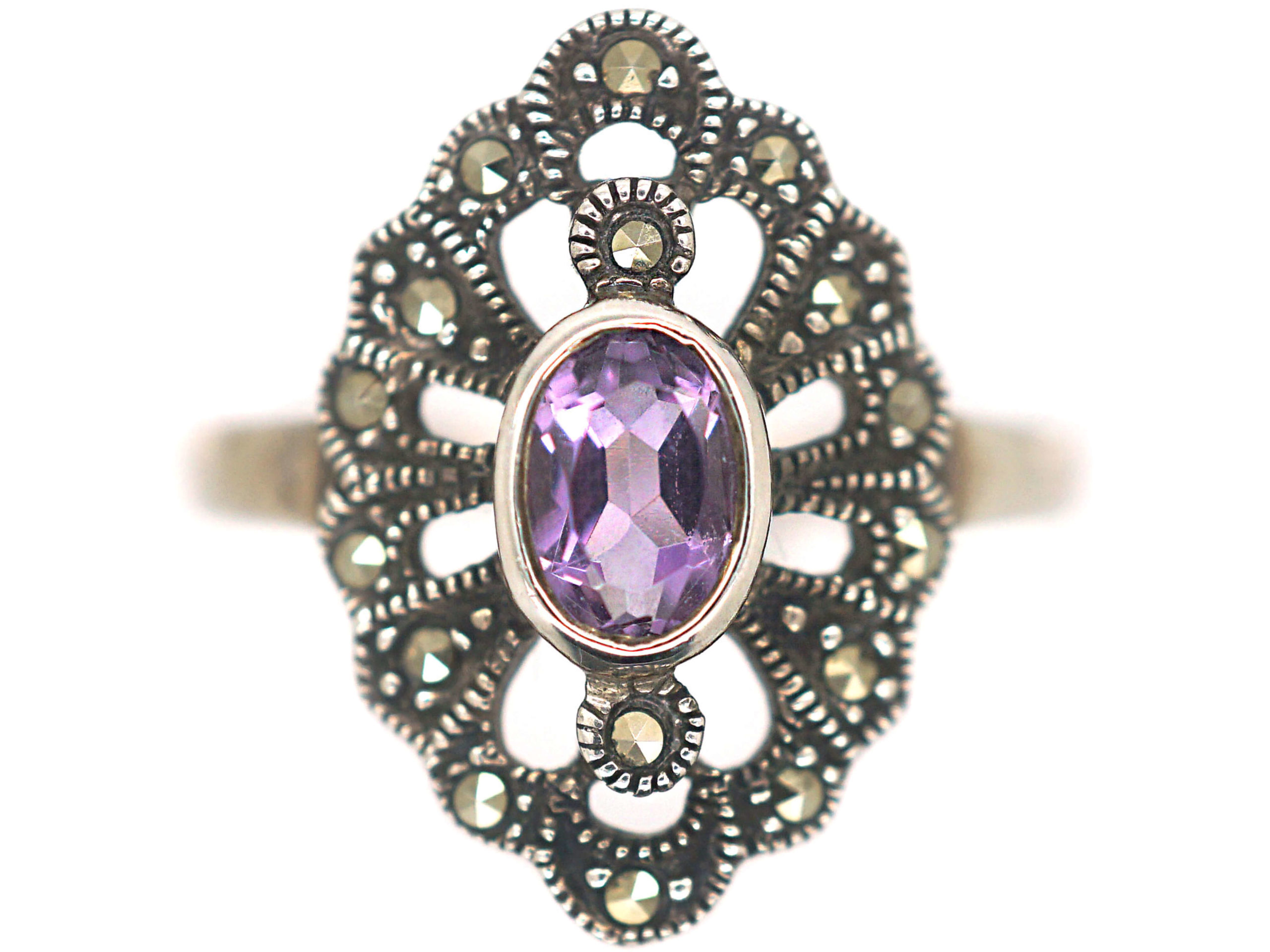 Silver, Pink Tourmaline & Marcasite Ring
