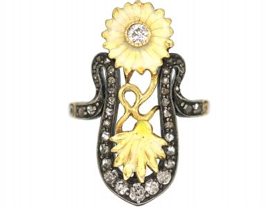 Art Nouveau 18ct Gold Diamond & Enamel Flowers Ring
