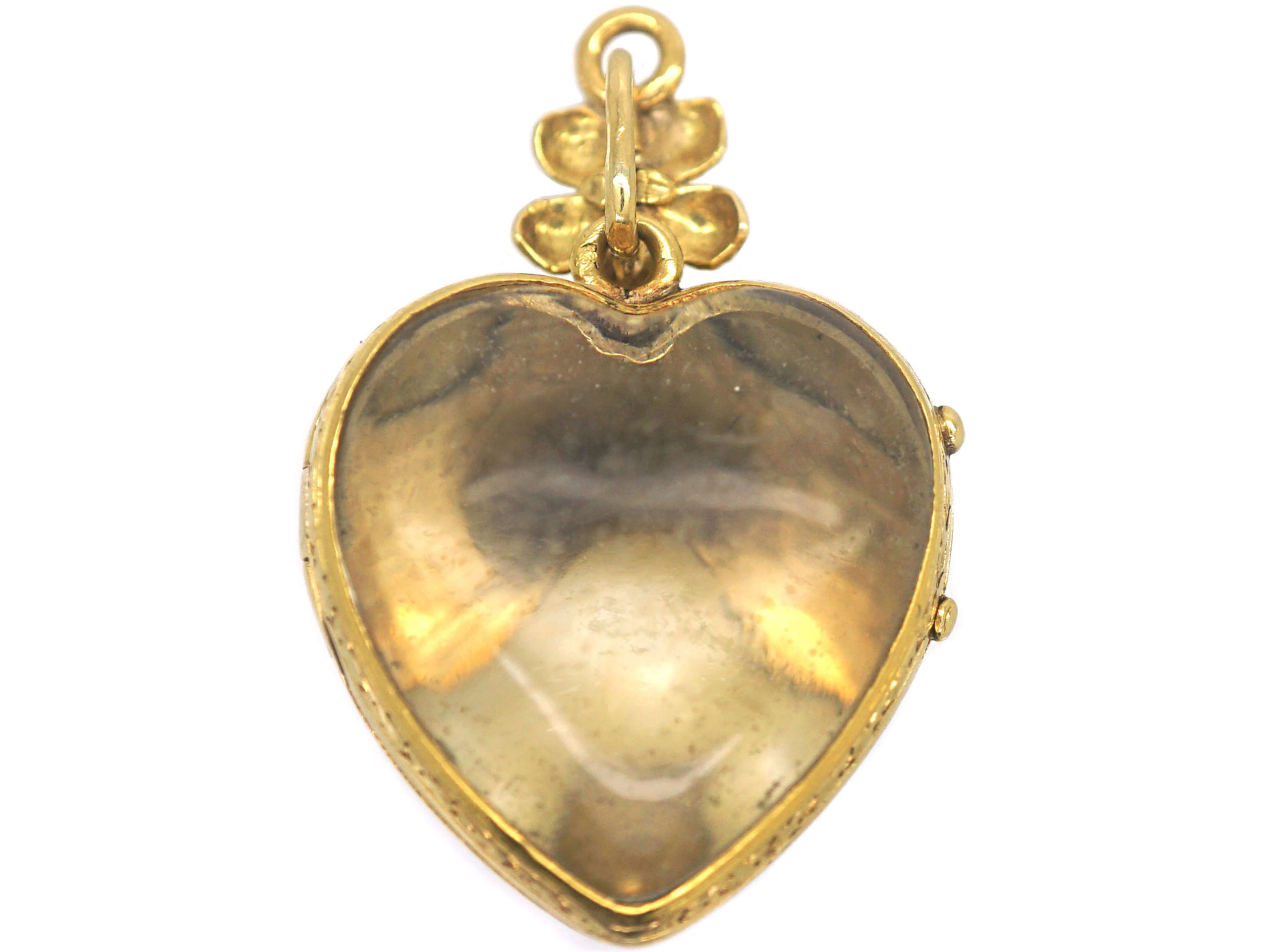 French 18ct Gold Heart Shaped pendant with Glazed Locket on Reverse set with A Natural Split Pearl Turquoise & Rose Diamonds