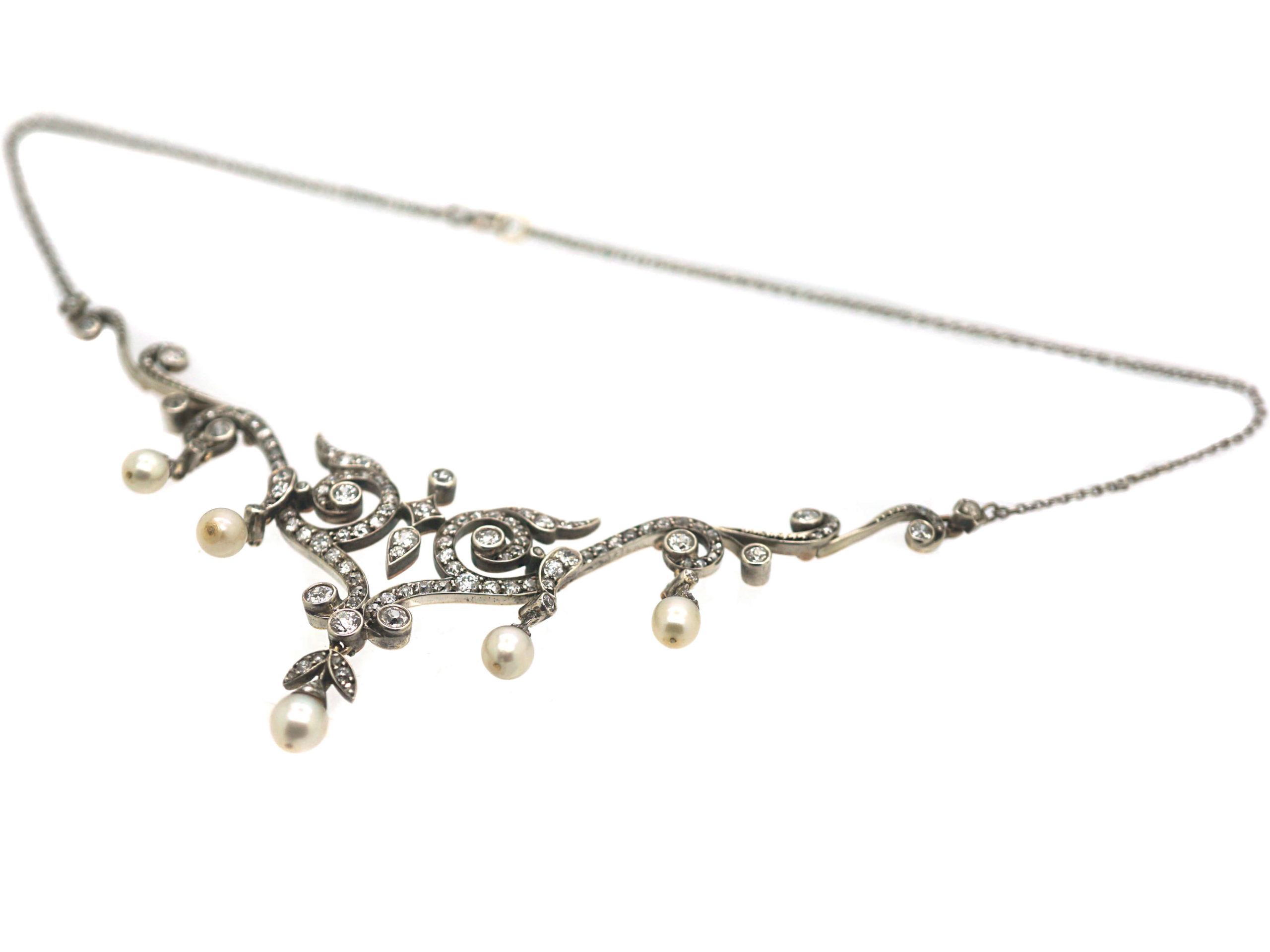 Edwardian 15ct Gold & Platinum, Natural Pearl & Diamond Necklace in Original Case