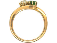 Edwardian 18ct Gold, Green Garnet & Diamond Ring