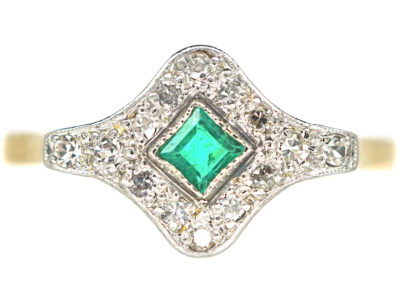 Art Deco 18ct Gold & Platinum, Diamond & Emerald Ring