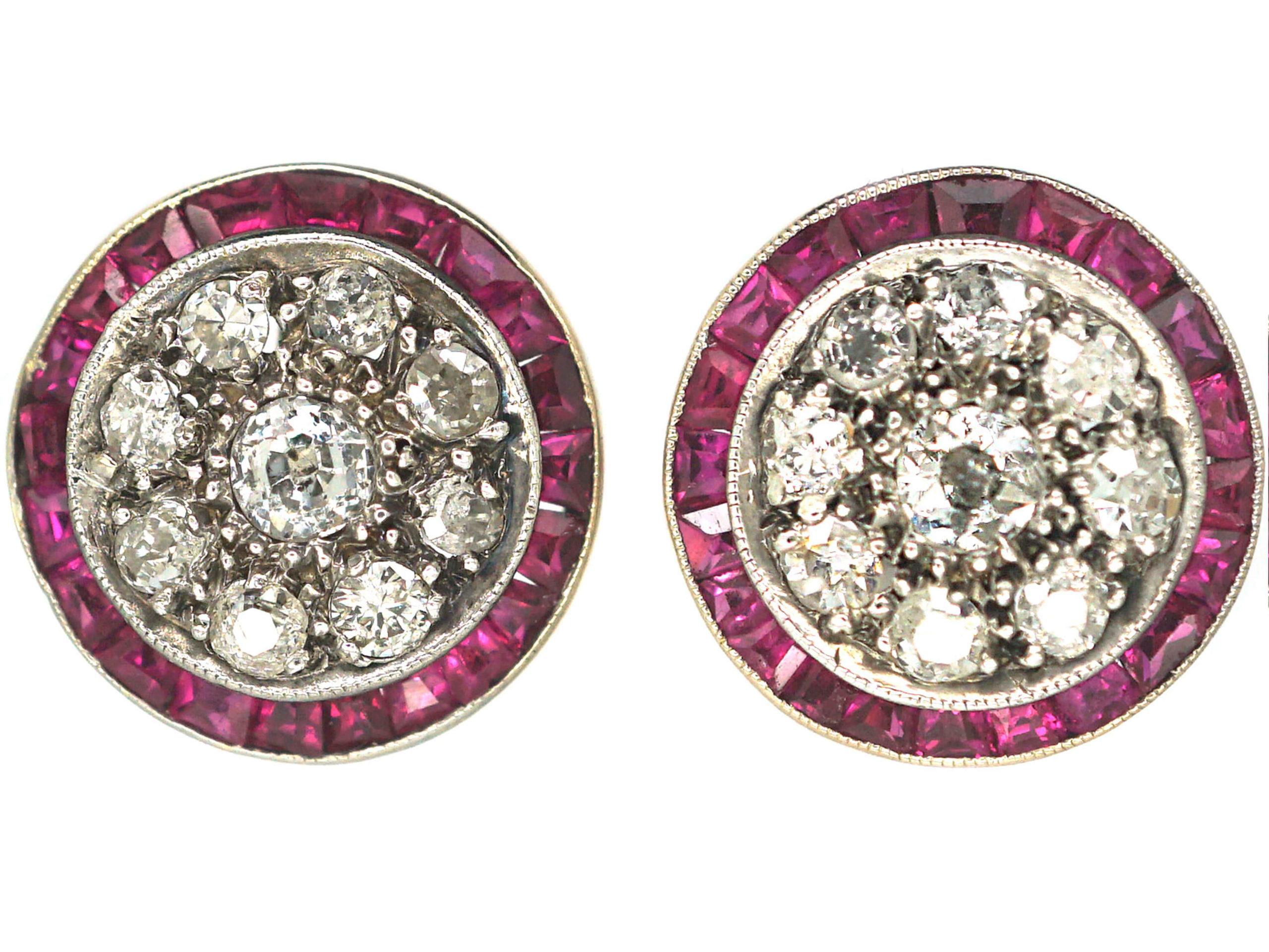 Art Deco 18ct White Gold & Platinum, Ruby & Diamond Target Earrings