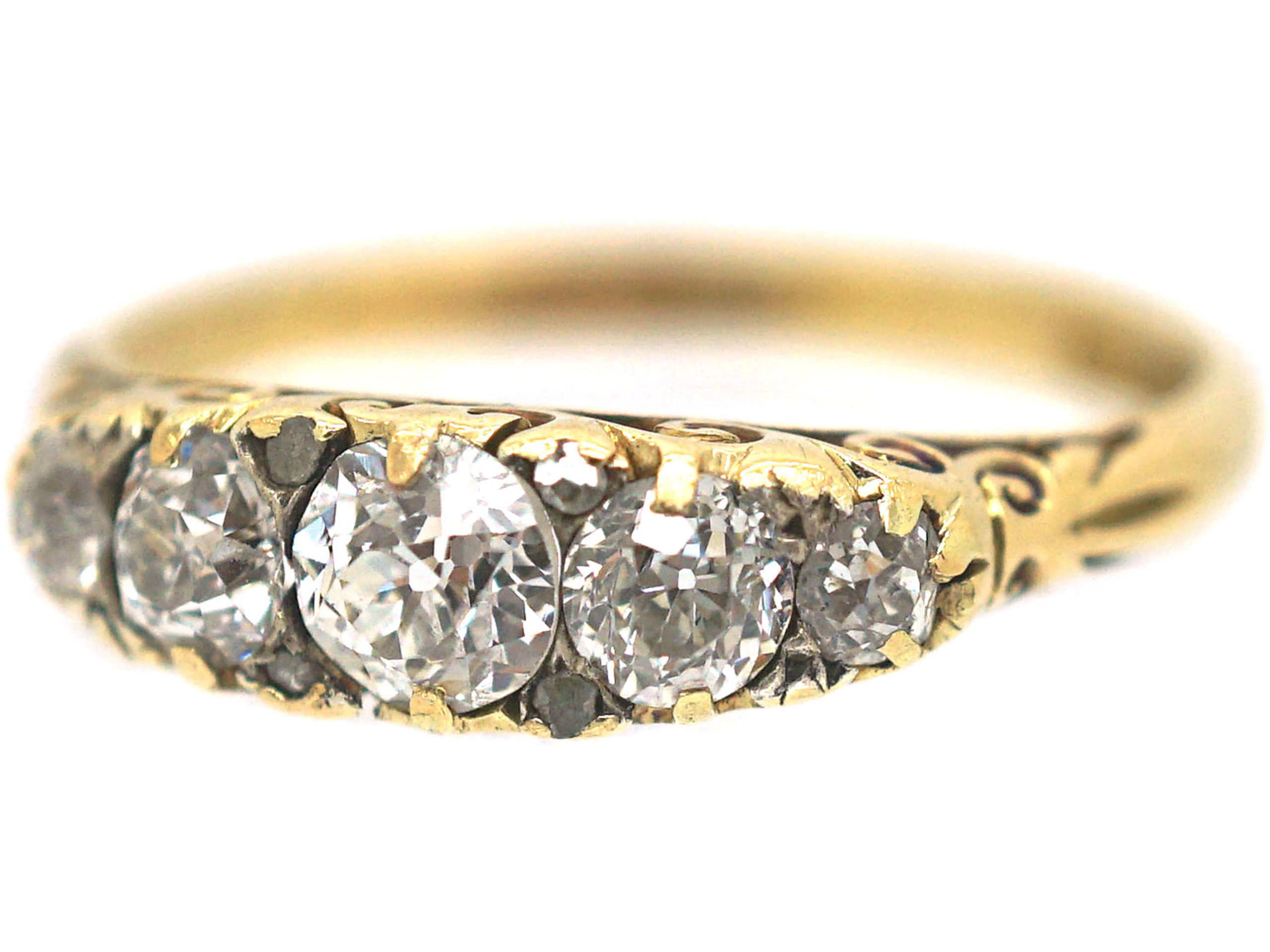 Victorian 18ct Gold, Diamond Five Stone Carved Half Hoop Ring