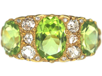 Victorian 18ct Gold, Peridot & Diamond Carved Half Hoop Ring