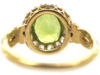 Edwardian 18ct Gold Peridot & Diamond Cluster Ring