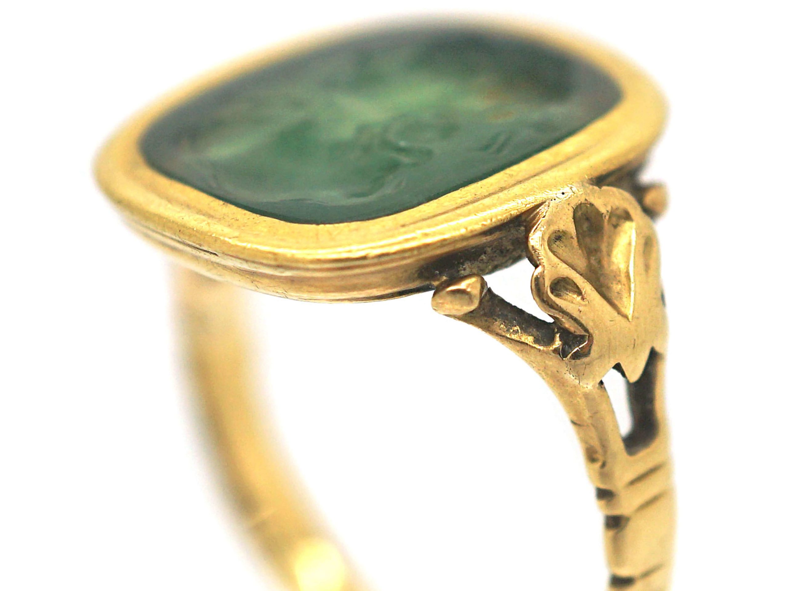 Georgian 15ct Gold Carved Moss Agate Ring with Intaglio of  Dionysus, the Greek God of Wine