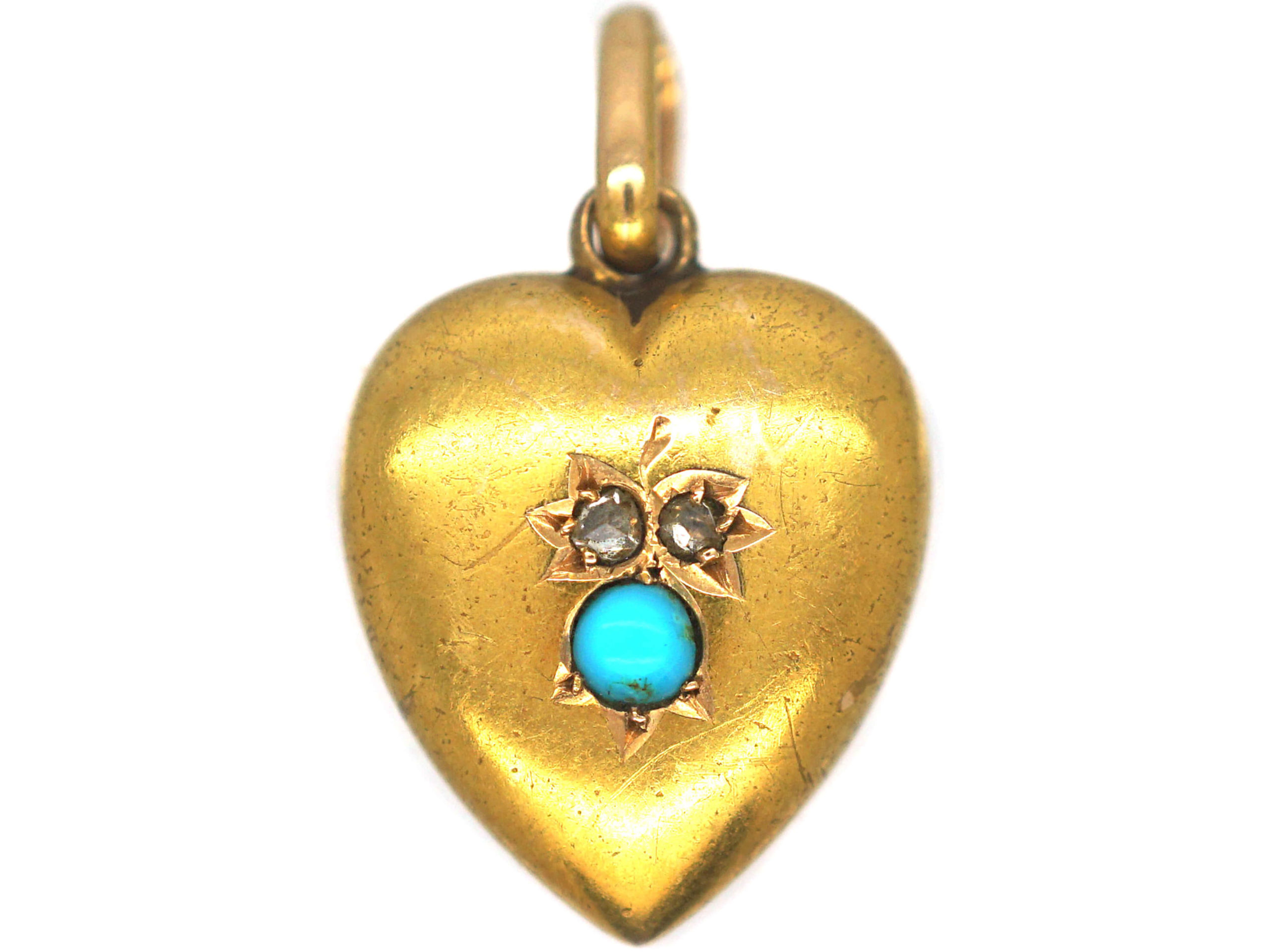 Edwardian 15ct Gold Heart Shaped Pendant set with Rose Diamonds & Turquoise