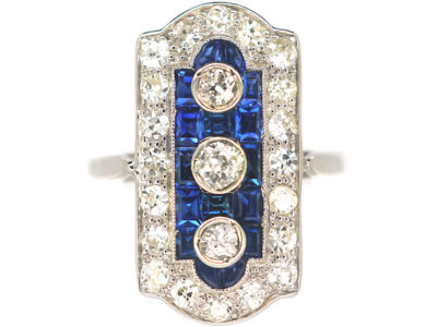Art Deco Platinum, Sapphire & Diamond Rectangular Shaped Ring