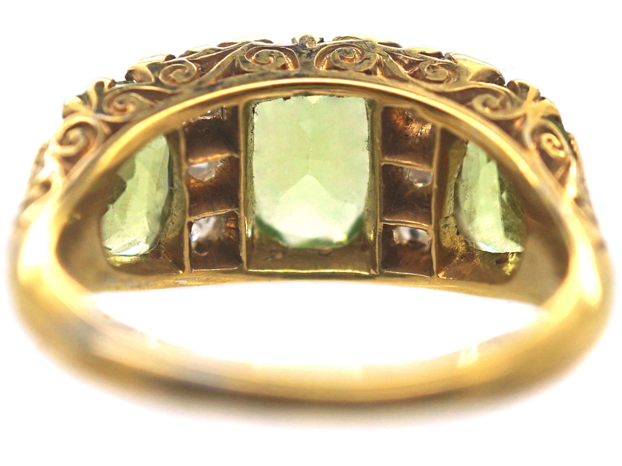 Victorian 18ct Gold, Peridot & Diamond Carved Half Hoop Ring