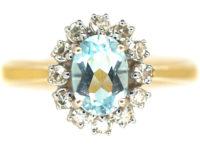 18ct Gold Aquamarine & Diamond Oval Cluster Ring