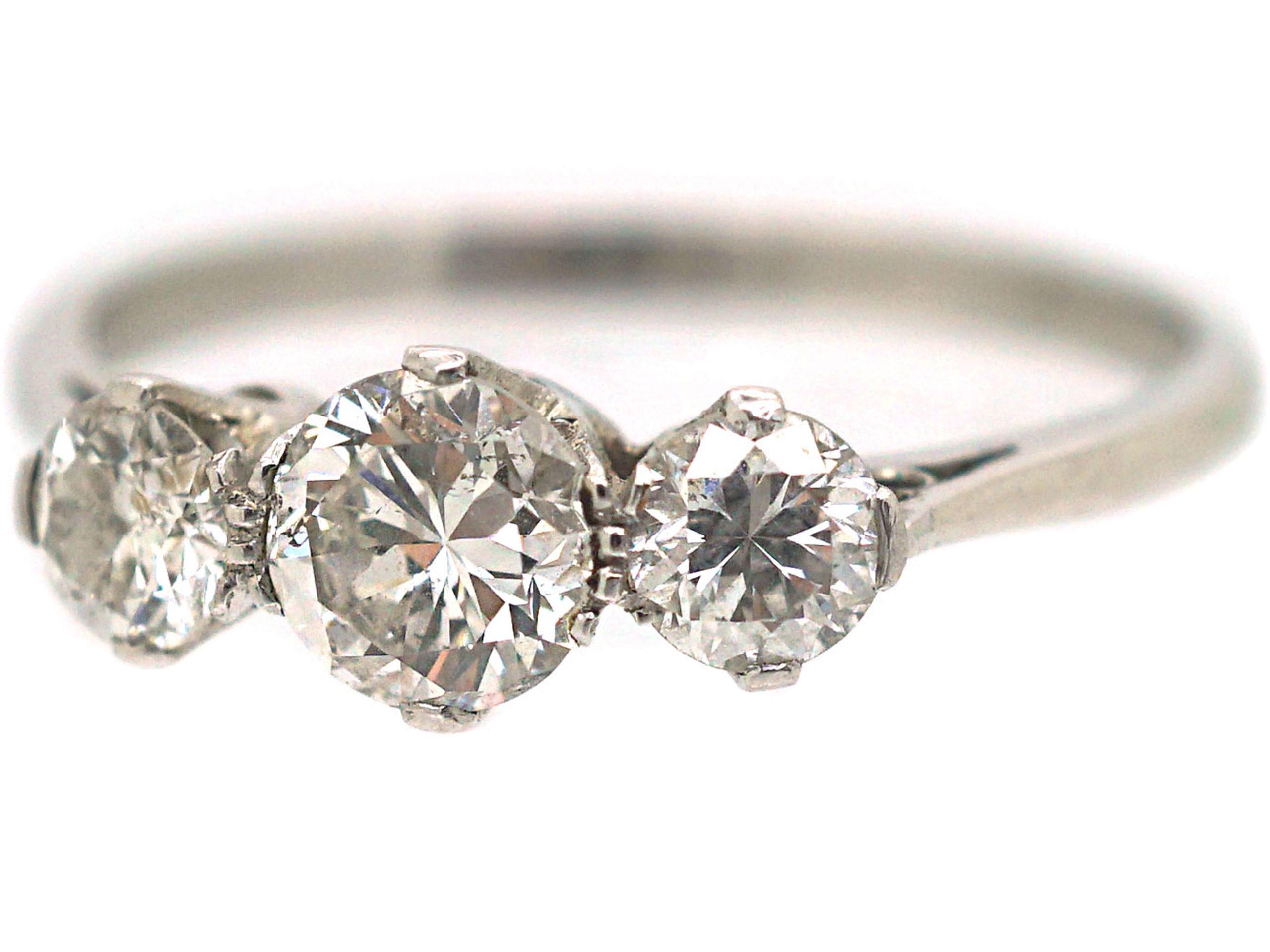 Art Deco 18ct White Gold Diamond Three Stone Ring