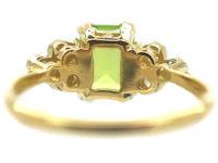 18ct Gold & Platinum Peridot & Diamond Ring by Alabaster & Wilson
