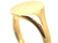 Art Deco 18ct Gold Plain Signet Ring