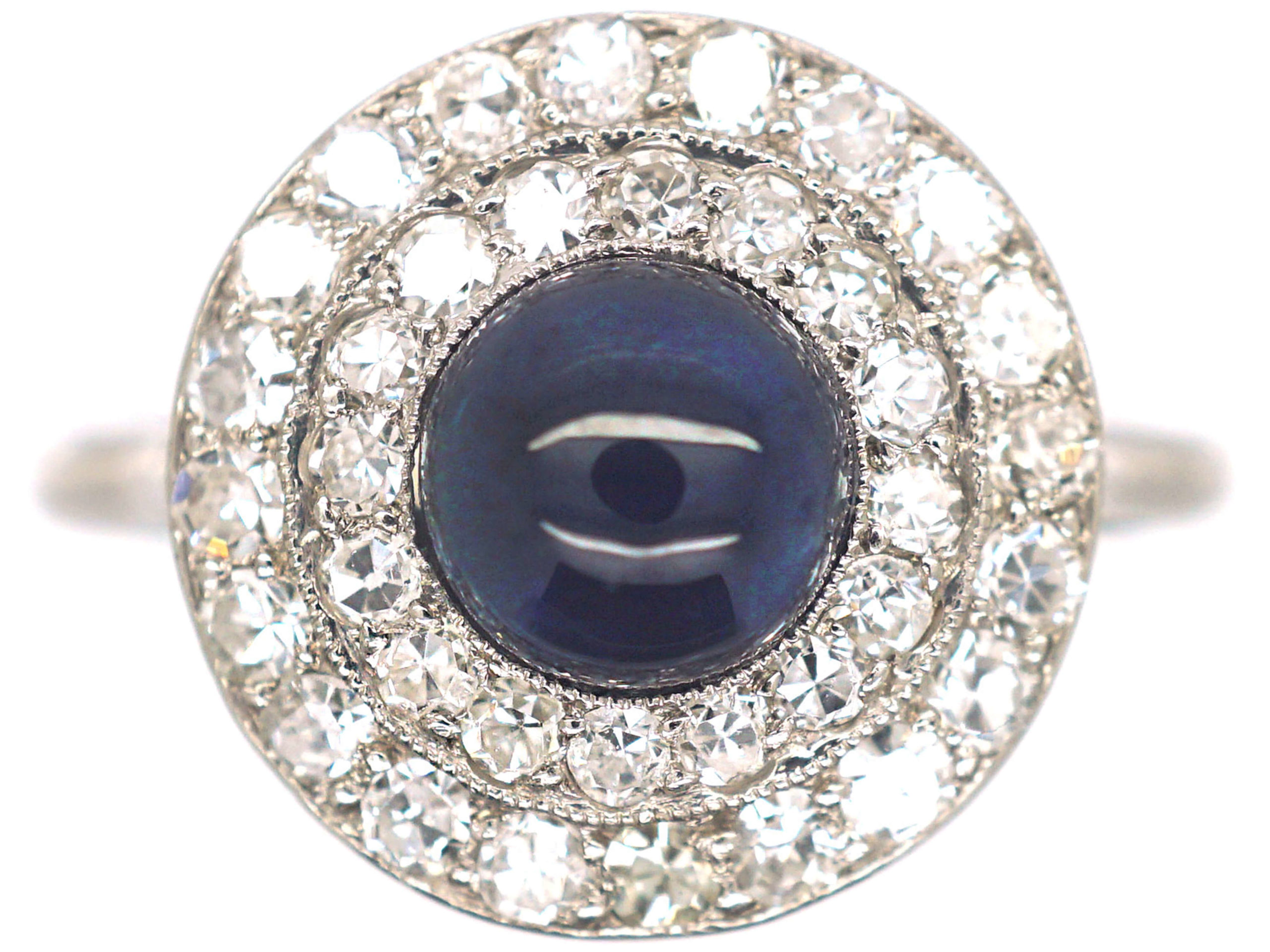 Art Deco Platinum Diamond & Cabochon Sapphire Cluster Ring