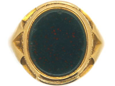 Large Victorian 15ct Gold & Bloodstone Signet Ring