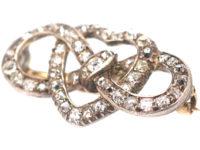Edwardian Lover's Knot & Heart Diamond Brooch