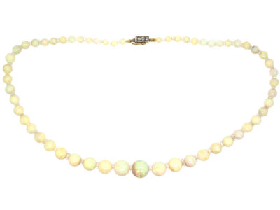 Edwardian Opal Beads with Diamond Set Clasp