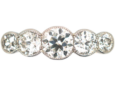 Edwardian 18ct Gold & Platinum, Five Stone Diamond Ring