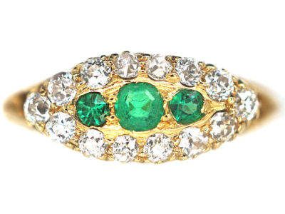 Edwardian 18ct Gold Emerald & Diamond Boat Shaped Ring
