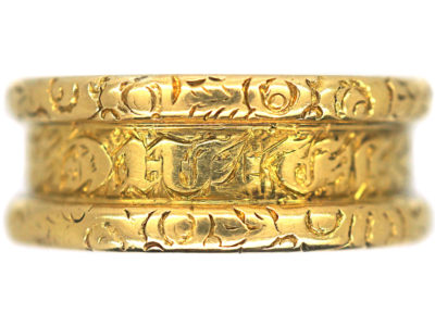Georgian Wide 18ct Gold Memorial Ring