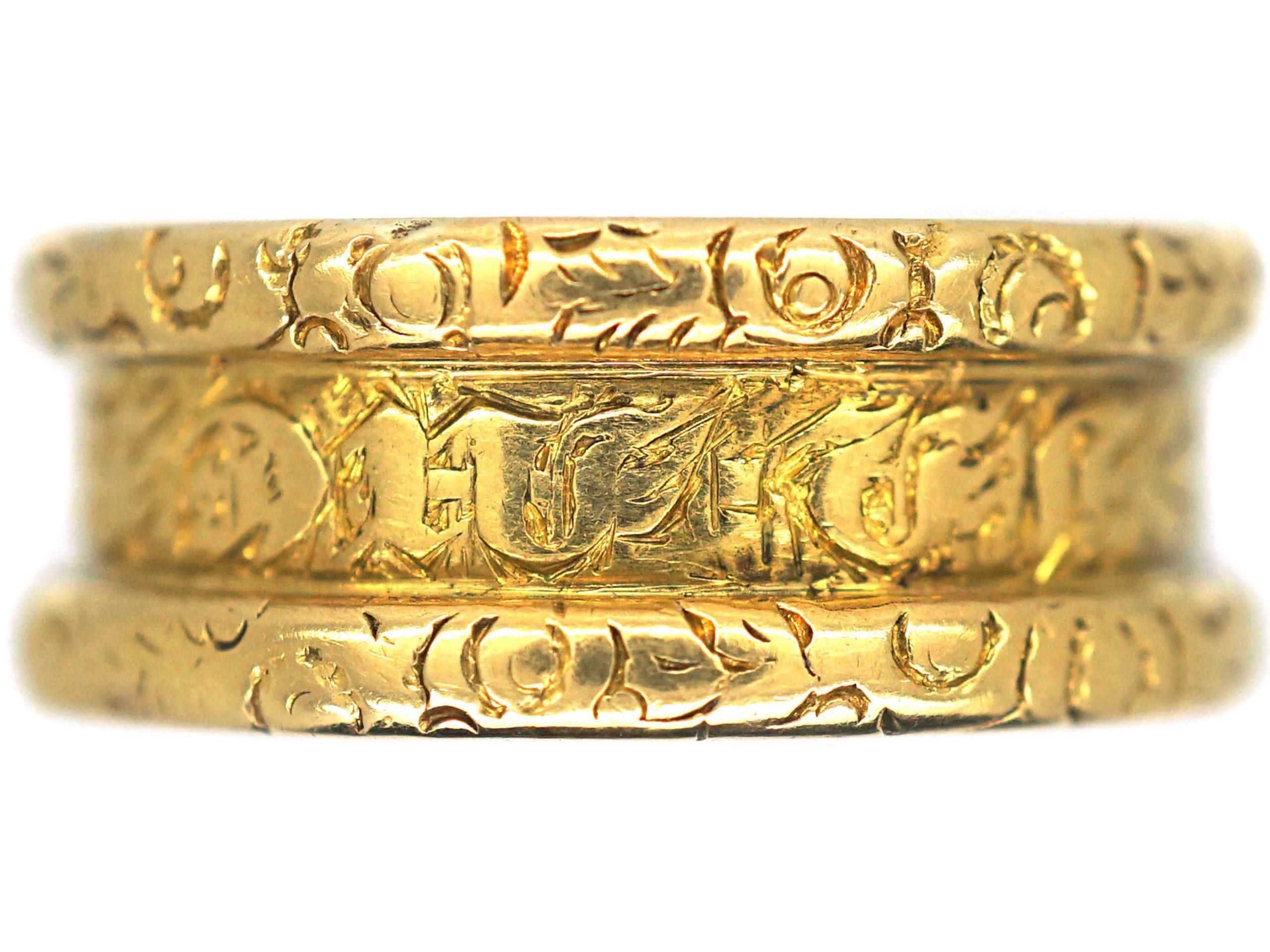 Georgian Wide 18ct Gold Memorial Ring