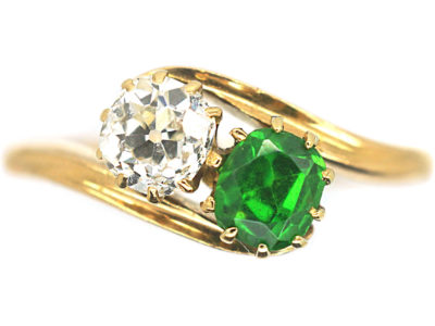 Edwardian 18ct Gold, Green Garnet & Diamond Ring