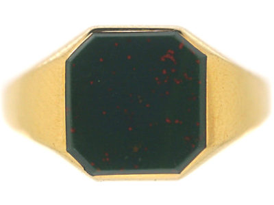 Art Deco 18ct Gold & Bloodstone Signet Ring