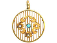 Edwardian 15ct Gold Aquamarine & Natural Split Pearl Round Pendant